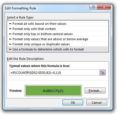 مقایسه دو ستون در اکسل - استفاده از Conditional Formatting
