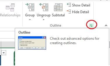 گروه بندی داده ها در اکسل - تنظیم نحوه نمایش علامت +و-