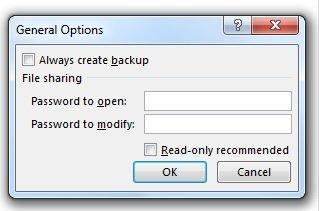 قفل کردن فایل اکسل - تعیین رمز
