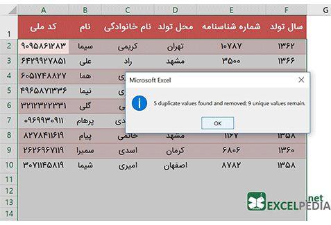 حذف داده های تکراری - کد ملی تکراری