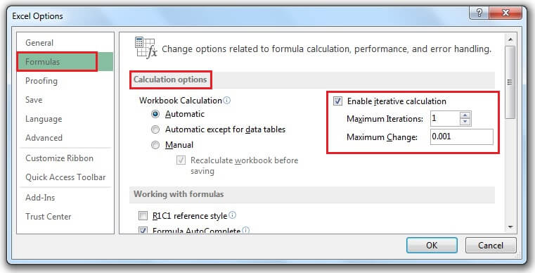 تنظیمات محاسبات خطای Circular Reference