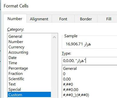فرمت سل - ترکیب هر ۴ مورد بالا در نمایش عدد
