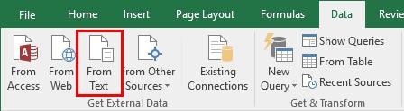 ورود اطلاعات در اکسل - وارد کردن داده از یک فایل متنی