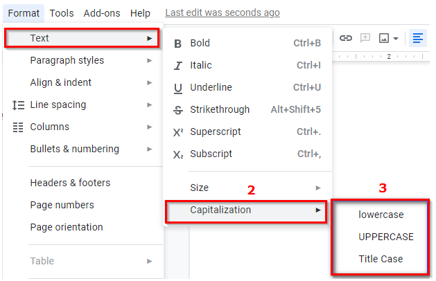 تغییر اندازه حروف با استفاده از گوگل داک