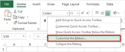نمایش گزینه Customize the Ribbon… در نوار ابزار