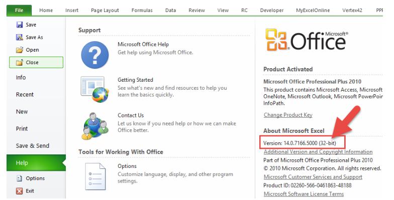 مشخص کردن نسخه ویندوز در اکسل 2010