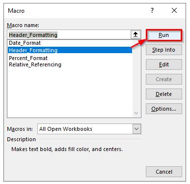 اجرای ماکرو با استفاده از دکمه Run در پنجره Macro