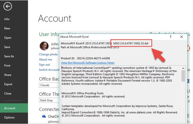 مشخص کردن نسخه ویندوز در اکسل 2013