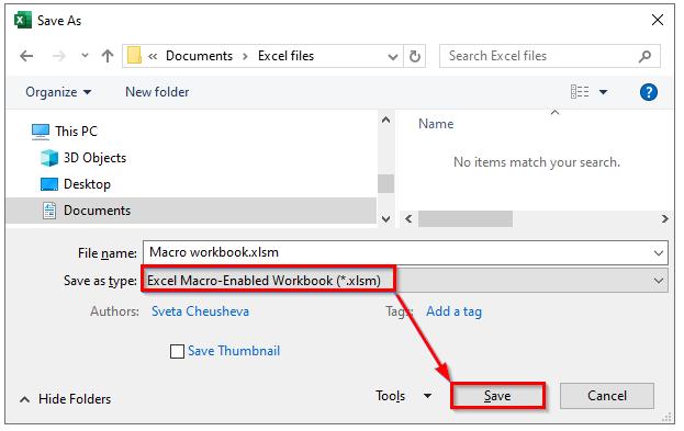 نحوه ذخیره سازی فایل حاوی ماکرو در پنجره Save As