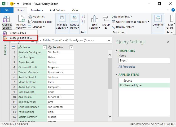 پنجره Power Query Editor