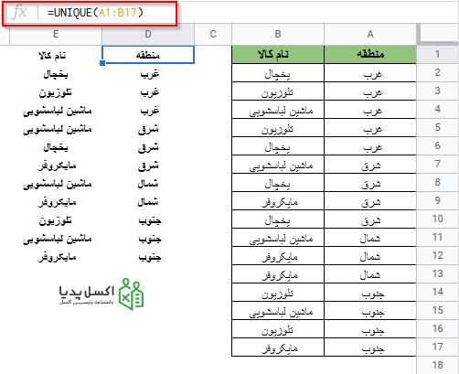 حذف داده های تکراری با استفاده از تابع UNIQUE