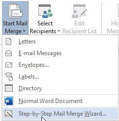 انتخاب ویزارد در Mail Merge