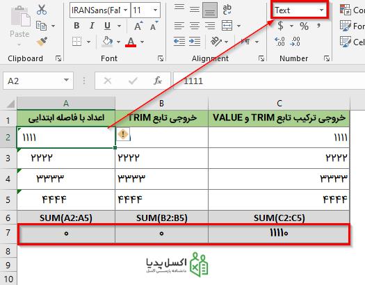 حذف فاصله اضافی در ابتدای داده های عددی
