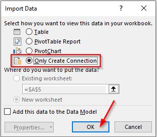 پنجره Import Data