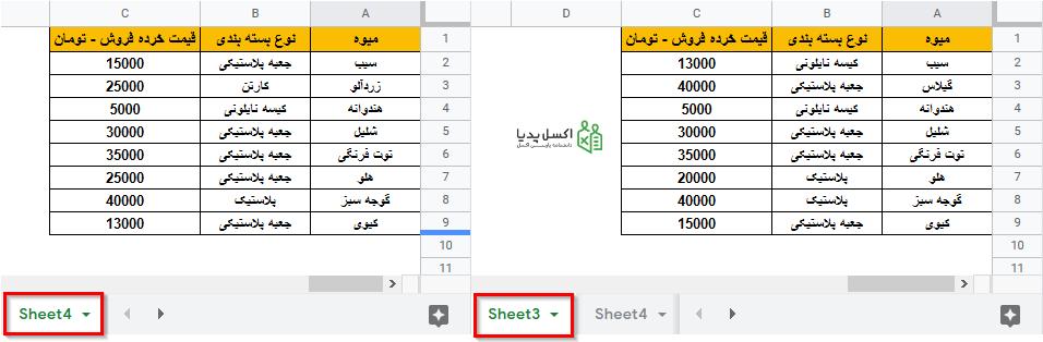 مقایسه دو جدول در دو شیت متفاوت