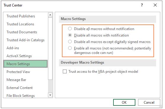 پنجره مربوط به تنظیمات (فعال / غیر فعال کردن) ماکروها