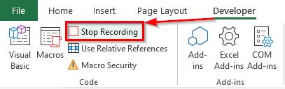 انتخاب دکمه Stop Recording از منوی Developer برای توقف ضبط ماکرو