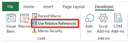 نحوه فعال سازی Use Relative References