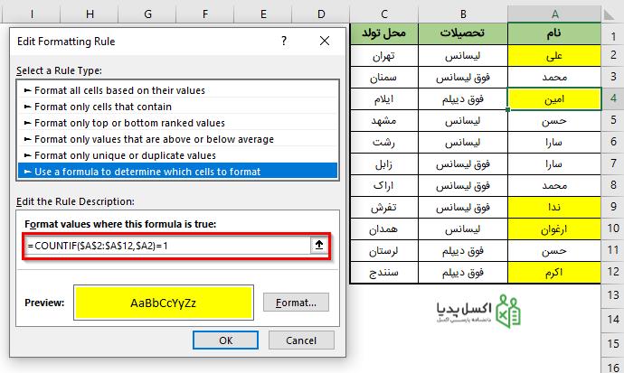 فرمول نویسی در Conditional Formatting برای تعیین مقادیر منحصر بفرد