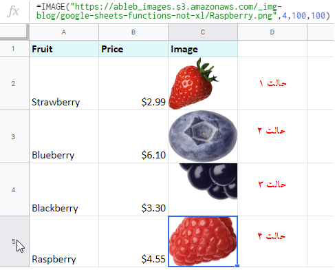 حالت های مختلف استفاده از تابع IMAGE