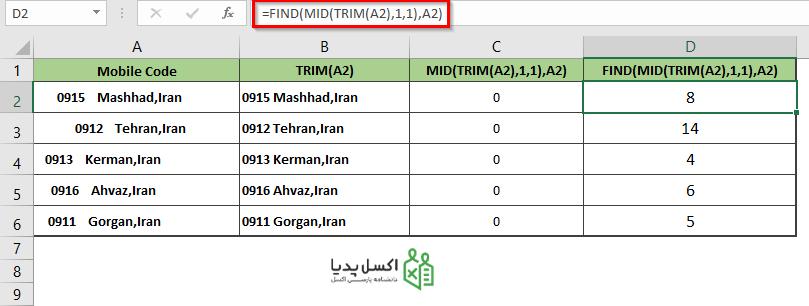 خروجی ترکیب توابع FIND با MID و TRIM