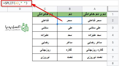 توابع پیشرفته - جدا کردن نام و نام خانوادگی با تابع SPLIT در گوگل شیت