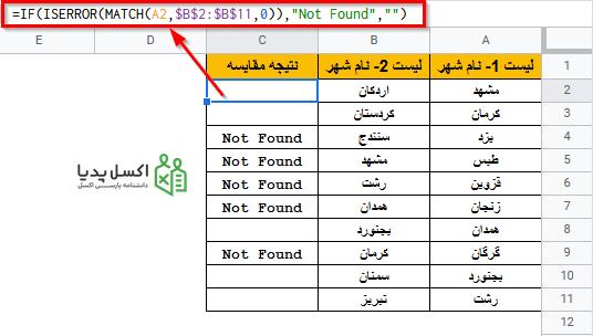 نمایش داده هایی که فقط در یک لیست موجودند با ترکیب توابع MATCH، ISERROR و IF