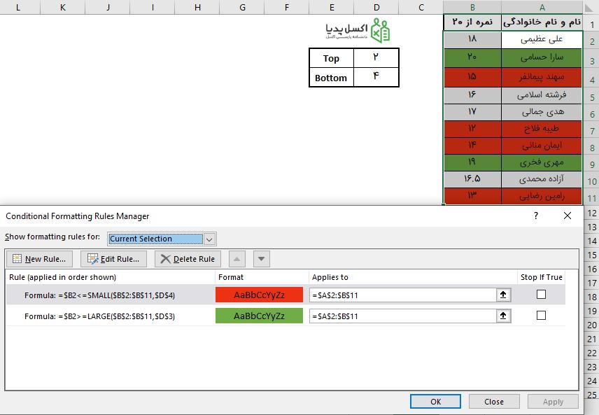 رنگی کردن سطر مربوط به N داده بزرگ و کوچک - فرمت دهی شرطی