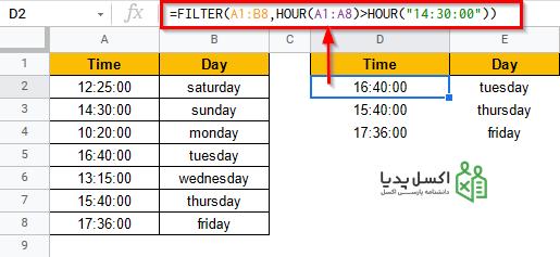 فیلتر کردن زمان های بزرگتر از ساعت 2:30 بعد از ظهر با استفاده از تابع HOUR