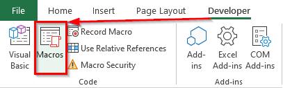 نحوه دسترسی به پنجره Macro از تب Developer