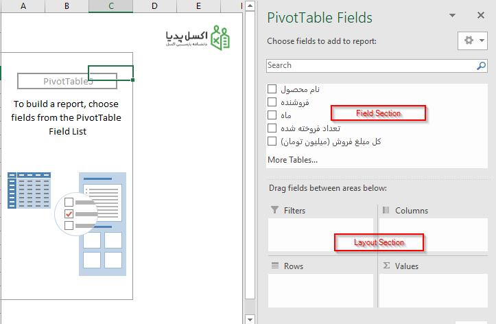 پنجره Pivot Table Fields
