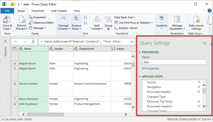 پنجره Query Settings در Power Query Editor