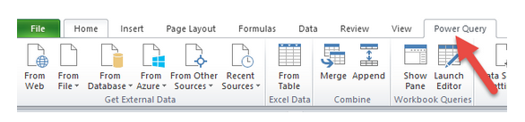 اضافه شدن تب Power Query بعد از نصب Add-in در نسخه 2010