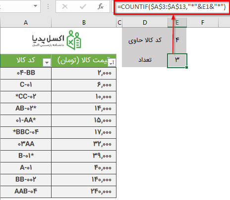 جستجو پیشرفته برای شمارش رشته متنی در محدوده داده های متنی