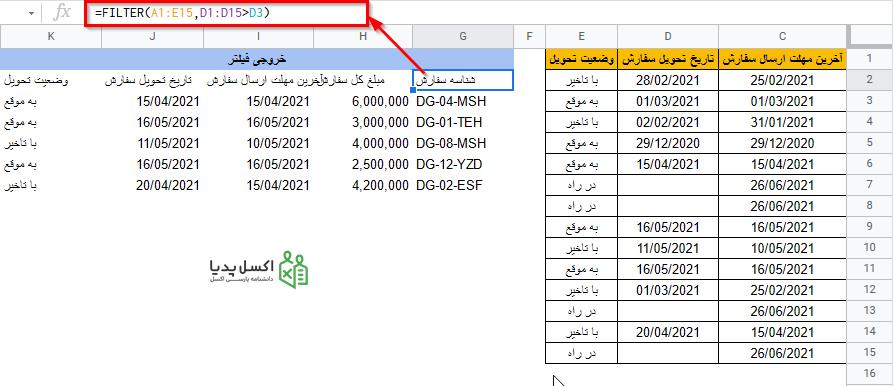 تاریخ های تحول بعد از 01/03/2021 با استفاده از سلول مرجع