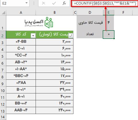جستجو پیشرفته برای شمارش رشته متنی در محدوده عددی