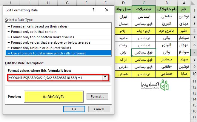 فرمت دهی سطرهای حاوی مقادیر منحصر به فرد در ستون های A و B