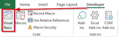 دسترسی به محیط Visual Basic از تب Developer