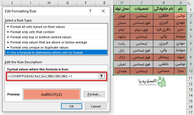 فرمت دهی سطرهای حاوی مقادیر متمایز در ستون های A و B