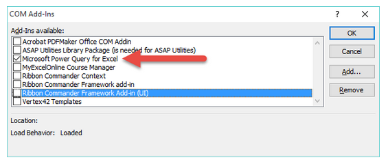 پنجره COM Add-Ins