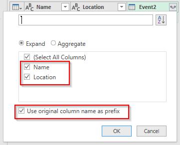 تنظیمات مربوط به نمایش اسامی جدول Event 2