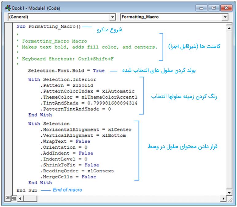 نمایش توضیحات و کد های اجرایی در یک ماکرو ضبط شده