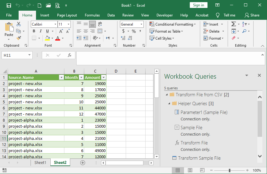 کاربرد Power Query- جدول نهایی حاصل از ترکیب چند جدول