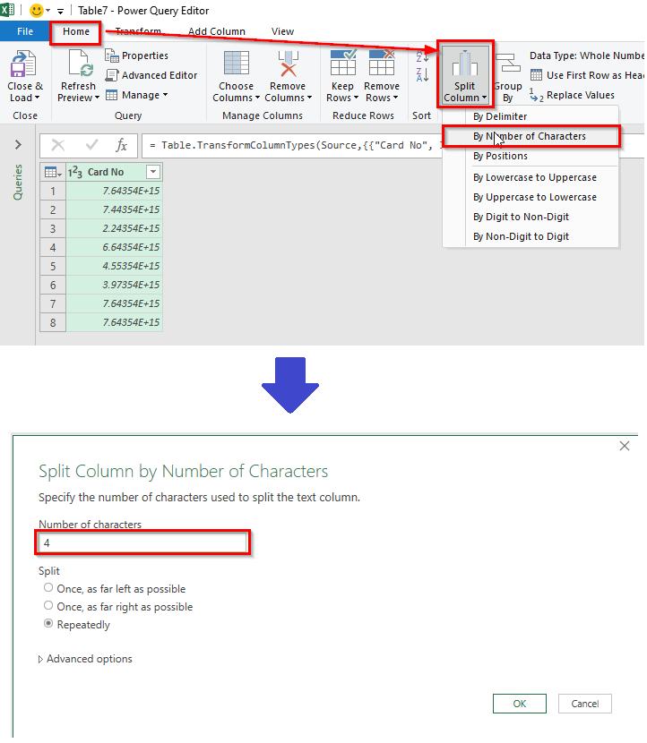 کاربرد Power Query- استفاده از قابلیت Split Columns