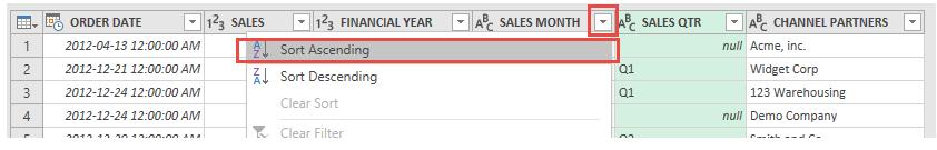 مرتب کردی صعودی اطلاعات ستون Sales Month