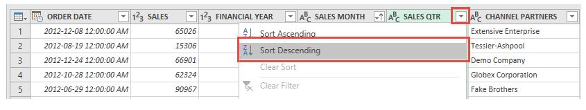 مرتب کردی نزولی اطلاعات ستون Sales QRT