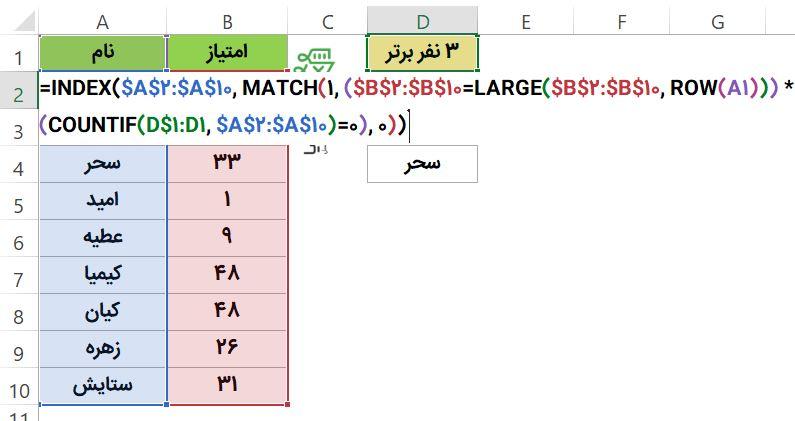 تعیین افراد برتر با امتیازات مشابه با فرمول آرایه ای - رتبه بندی داده تکراری