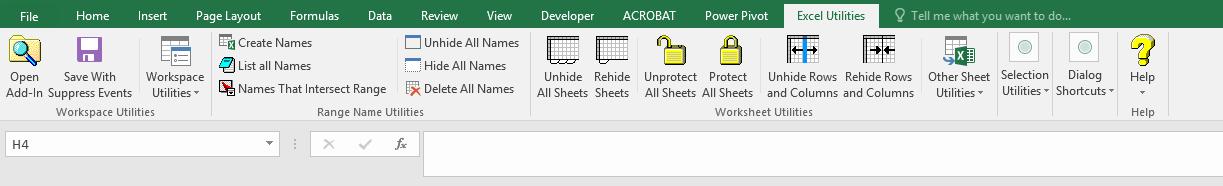 ریبون اضافه شده - Excel Utilities
