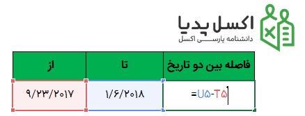 تاریخ در اکسل - محاسبه اختلاف دو تاریخ