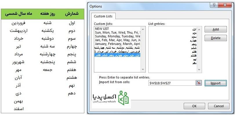 AutoFill در اکسل - اضافه کردن لیست های فارسی در اکسل